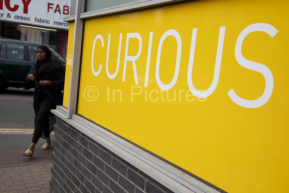 Curious sign in Birmingham, United Kingdom. Curious, or curiosity can mean eagerness to learn something or to mean something strange, odd, peculiar, funny, unusual, bizarre, weird, eccentric, or unexpected.
