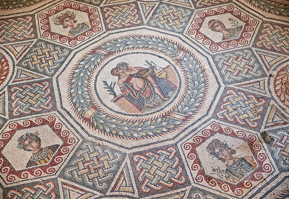 Roman Mosaic from the Cubilcle with Erotic Scene, room 24, at the Villa Romana del Casale,  first quarter of the 4th century AD. Sicily, Italy. A UNESCO World Heritage Site. .<br /> <br /> If you prefer to buy from our ALAMY PHOTO LIBRARY  Collection visit : https://www.alamy.com/portfolio/paul-williams-funkystock/villaromanadelcasale.html<br /> Visit our ROMAN MOSAICS PHOTO COLLECTIONS for more photos to buy as buy as wall art prints https://funkystock.photoshelter.com/gallery/Roman-Mosaics-Roman-Mosaic-Pictures-Photos-and-Images-Fotos/G00008dLtP71H_yc/C0000q_tZnliJD08