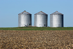 20 October 2007: Grain storage bins dot the horizon