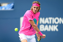 August 9, 2018 - Toronto, ON, U.S. - TORONTO, ON - AUGUST 09: Stefanos Tsitsipas (GRE) returns the ball during his third round match of the Rogers Cup tennis tournament on August 9, 2018, at Aviva Centre in Toronto, ON, Canada. (Photograph by Julian Avram/Icon Sportswire) (Credit Image: © Julian Avram/Icon SMI via ZUMA Press)