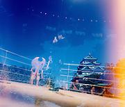 Double exposure of Kazushi Sakuraba and Nagoya Castle at DREAM.16 event