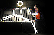 JP License<br /> From today 4th February until the 28th March 2016, St Andrew Square Garden will be taken over by illuminated stick men as part of this year's amazing light installation KEYFRAMES.<br /> <br /> Pic caption:  Production manager Hannah Ayre meets one of the stickmen on a park bench<br /> <br /> Created by French artists collective Groupe LAPS, KEYFRAMES uses LED lights tubes to create multiple static stick figures that, when paired with a soundtrack, flash on and off in a choreographed display to imitate movement.<br /> <br /> KEYFRAMES has previously exhibited in Singapore, Jerusalem, France, Spain and the Netherlands, and debuted in the UK in Durham at the 2013 Lumiere Festival. The free exhibition in St Andrew Square marks KEYFRAMES Scotland debut and will give the public the opportunity to experience the architecture and environment of St Andrew Square in a different light.<br /> The 80 light sculptures  take over St Andrew Square Garden  illuminated in sequence to an original musical composition. They are installed around the square to create an immersive environment and will allow the public to wander through the space.<br /> <br /> <br />  Neil Hanna Photography<br /> www.neilhannaphotography.co.uk<br /> 07702 246823