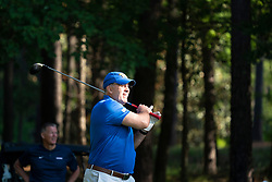 Pittsburgh head football coach Pat Narduzzi tees off during the Chick-fil-A Peach Bowl Challenge at the Ritz Carlton Reynolds, Lake Oconee, on Tuesday, April 30, 2019, in Greensboro, GA. (Paul Abell via Abell Images for Chick-fil-A Peach Bowl Challenge)
