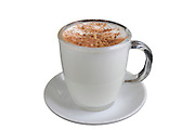 Salep, hot milk or water thickened with a powder made from grinding orchid tubers Originally from Turkey it is popular in the Middle East garnished with cinnamon and ground nuts On white Background