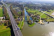 Nederland, Overijssel, Zwolle, 01-05-2013; brug A28 over de IJssel, rechts Katerveer met Katerveersluis. Ingang Willemsvaart - historische verbinding tussen de IJssel en Zwolle.<br /> Katerveer lock. Willemsvaart Entrance (channel) - historical connection between the river IJssel and the city of Zwolle. Bridge over the river IJssel of motorway A28. <br /> luchtfoto (toeslag op standard tarieven);<br /> aerial photo (additional fee required);<br /> copyright foto/photo Siebe Swart