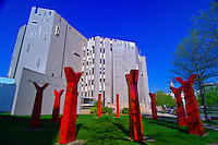 """Northern Building of the Denver Art Museum with sculpture """"Wheel"""" by Edgar Heap of Birds in foreground, Civic Center Cultural Complex, Denver, Colorado USA"""