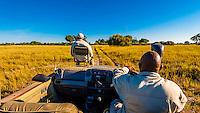 Safari vehicle, Kwara Camp, Okavango Delta, Botswana.
