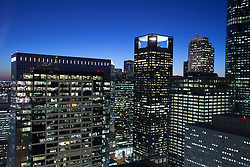 Night view of Houston, Texas skyline from 811 Main Street.