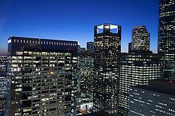 Night view of Houston, Texas skyline from 811 Main Street.