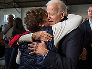 23 NOVEMBER 2019 - DES MOINES, IOWA: Former Vice President JOE BIDEN hugs a supporter after making a speech at a campaign event in Des Moines Saturday. Vice President Biden announced that Tom Vilsack, the former Democratic governor of Iowa, endorsed him. Biden and Vilsack appeared with their wives at an event in Des Moines. Iowa hosts the first presidential selection event of the 2020 election cycle. The Iowa caucuses are on February 3, 2020.           PHOTO BY JACK KURTZ