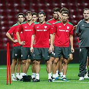 Athletic Bilbao's head coach Marcelo Biesla (R) and players during their team's training session in Istanbul, Turkey, 24 August 2011. Athletic Bilbao will face Trabzonspor in the UEFA Europa League play off second leg soccer match on 25 August.  Photo by TURKPIX