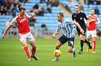 Coventry City's Joe Cole looks to get past Fleetwood Town's Eggert Jonsson<br /> <br /> Photographer Andrew Vaughan/CameraSport<br /> <br /> Football - The Football League Sky Bet League One - Coventry City v Fleetwood Town - Saturday 27th February 2016 - Ricoh Stadium - Coventry   <br /> <br /> © CameraSport - 43 Linden Ave. Countesthorpe. Leicester. England. LE8 5PG - Tel: +44 (0) 116 277 4147 - admin@camerasport.com - www.camerasport.com