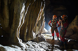 """Expedition members take picture of stalactites within the Miao Room Chamber, China's largest cave chamber by volume, in Ziyun County of southwest China's Guizhou Province, April 14, 2016. In 2014, National Geographic announced Miao Room Chamber, with a volume of some 19.78 million cubic meters, as the world's largest cave chamber. A joint caving expedition code-named """"Pearl"""" by explorers and scientists from China and France kicked off here on April 11 during the 19-day exploration, they will conduct comprehensive investigation on famous caves in Guizhou including the Miao Room Chamber and Shuanghe Cave in Suiyang. EXPA Pictures © 2016, PhotoCredit: EXPA/ Photoshot/ Ou Dongqu<br /> <br /> *****ATTENTION - for AUT, SLO, CRO, SRB, BIH, MAZ, SUI only*****"""