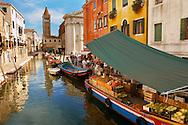 Fruit market on a boat - Campo San Barnarba - Venice Italy.