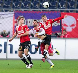 11.12.2011, Red Bull Arena, Salzburg, AUT, 1.FBL, Red Bull Salzburg vs FC Trenkwalder Admira, im Bild Chtristopher Dibon, (Trenkwalder Admira, #17), Stefan Maierhofer, (Red Bull Salzburg, #9) und Stefan Auer, (Trenkwalder Admira, #13), EXPA Pictures © 2011, PhotoCredit: EXPA/ R. Hackl