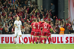September 1, 2017 - Copenhagen, Denmark - Danish players celebrate scoring during the FIFA World Cup 2018 Qualifying Round between Denmark and Poland at Telia Parken Stadium in Copenhagen, Denmark on September 1, 2017  (Credit Image: © Andrew Surma/NurPhoto via ZUMA Press)