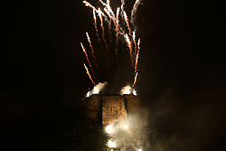© Licensed to London News Pictures. 20/02/2016. York, UK. Fireworks stream off Clifford's Tower during the finale of the annual Jorvik Viking Festival in York, North Yorkshire. The historic city was transformed into a fiery battleground as this year's end to the week long festival told the story of the infamous Battle of Assundun. The festival, which is run by the Jorvik Viking Centre, takes place every February in tradition of an ancient Viking festival known as Jolablot.  Photo credit : Ian Hinchliffe/LNP