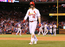 September 27, 2017 - St. Louis, MO, USA - The St. Louis Cardinals' Randal Grichuk returns to the dugout after making the final out against the Chicago Cubs on Wednesday, Sept. 27, 2017, at Busch Stadium in St. Louis. The Cubs clinched the N.L. Central Division title with the 5-1 victory. (Credit Image: © Chris Lee/TNS via ZUMA Wire)