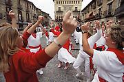 Folk dancing during the patron saint festival in Olite, Navarra, Spain.