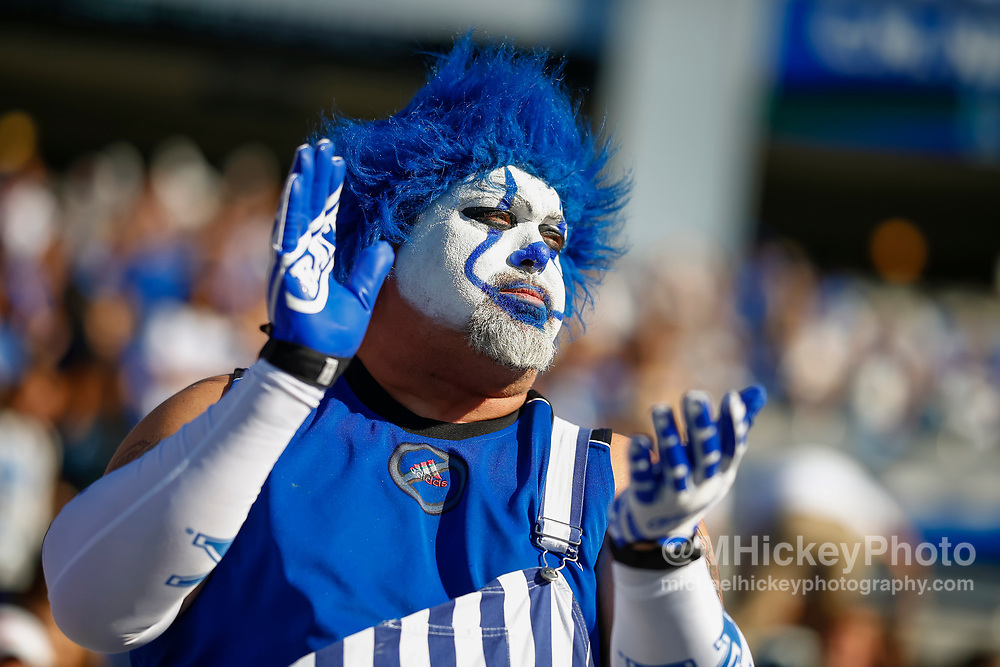 LEXINGTON, KY - SEPTEMBER 30: A Kentucky Wildcats fan is seen during the game against the Eastern Michigan Eagles at Commonwealth Stadium on September 30, 2017 in Lexington, Kentucky. (Photo by Michael Hickey/Getty Images)