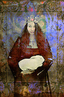 Portrait of a young woman wearing a heart necklace and a crown holding a white rabbit.