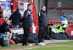 Peterborough United Manager, Darren Ferguson on the touchline alongside Crawley Town Manager, John Gregory - Photo mandatory by-line: Joe Dent/JMP - Tel: Mobile: 07966 386802 01/03/2014 - SPORT - FOOTBALL - Crawley - Broadfield Stadium - Crawley Town v Peterborough United - Sky Bet League One