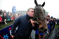 Trainer Gordon Elliott kisses winning horse General Principle, after winning the Boylesports Irish Grand National Chase, during BoyleSports Irish Grand National Day of the 2018 Easter Festival at Fairyhouse Racecourse, Ratoath, Co. Meath.