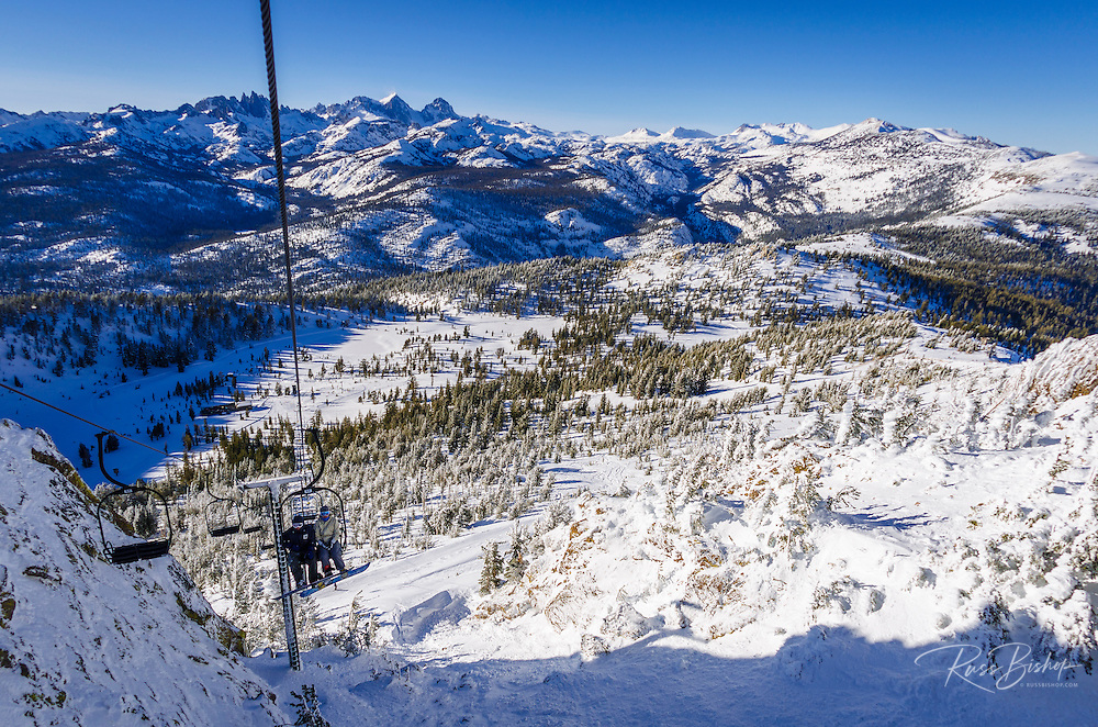 The Minarets from chairlift at Mammoth Mountain Ski Area, Mammoth Lakes, California USA
