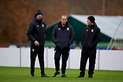 CARDIFF, WALES - Monday, November 19, 2018: Wales' physio Danny Murphy, physiotherapist James Haycock and physiotherapist Sean Connelly during a training session at the Vale Resort ahead of the International Friendly match between Albania and Wales. (Pic by David Rawcliffe/Propaganda)