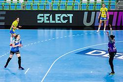 Harma van Kreij of RK Krim (SLO) vs Sako Hatadou of Metz Handball (FRA)  during handball match between RK Krim Mercator (SLO) vs Metz Handball  (FRA) in DELO EHF Women's Champions League 2020/21, on January 16, 2021 in SRC Stozice, Ljubljana, Slovenia. Photo by Grega Valancic / Sportida