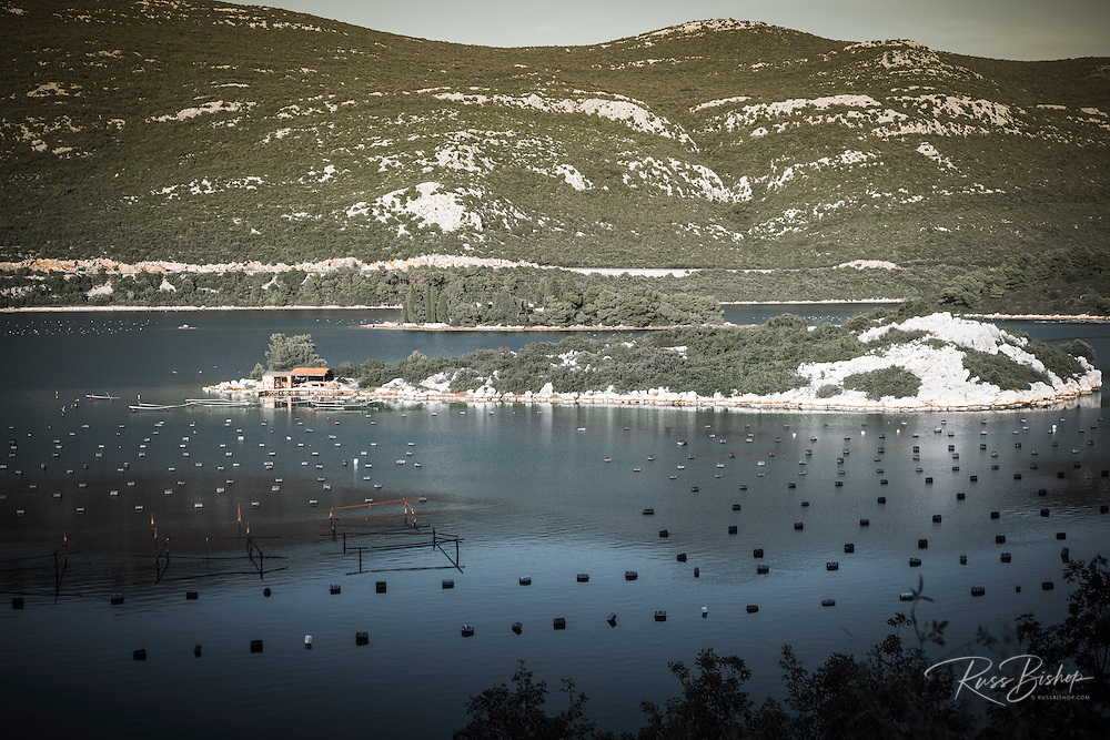 Fishing buoys in the Adratic near Ston, Dalmatian Coast, Croatia