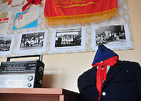 A history classroom, with memorabilia from the Soviet era, in the school in Kirillov, a small town of about 8,000 on the shores of Lakes Siverskoye and Dolgoye near Vologda, the district center. Students have the full three months of summer off, a must in an area that is locked in by snow and ice much of the winter. Freshly painted classrooms and new double-pane storm windows awaited their return.
