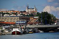 Lyon. La Confluence et Fourviere en arriere plan