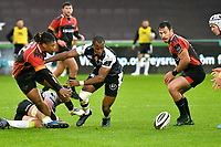 Rugby Union - 2019 / 2020 Guinness Pro14 - Ospreys vs. Southern Kings<br /> <br /> Howard Mnisi (c), of Southern Kings hacks the ball through, at The Liberty Stadium.<br /> <br /> COLORSPORT/WINSTON BYNORTH