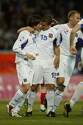TEPLICE, CZECH REPUBLIC - Wednesday, April 30, 2003: Czech Republic's Milan Baros (r) celebrates with goalscorer Tomas Rosicky against Turkey during a friendly match at the Teplice Stadion Na Stinadlech. (Pic by David Rawcliffe/Propaganda)