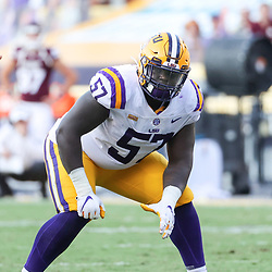 Sep 26, 2020; Baton Rouge, Louisiana, USA; LSU Tigers guard Chasen Hines (57) against the Mississippi State Bulldogs during the second half at Tiger Stadium. Mandatory Credit: Derick E. Hingle-USA TODAY Sports