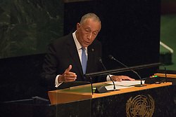 September 20, 2016 - New York, NY, Unknown - Portugese President Marcelo Rebelo de Sousa delivers his remarks on the first day of the UN General Assembly's General Debate, IN General Assembly Hall at UN Headquarters in New York. (Credit Image: © Albin Lohr-Jones/Pacific Press via ZUMA Wire)
