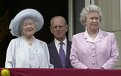 File photo dated 04/08/00 of the Queen Mother alongside the Queen and the Duke of Edinburgh, on the balcony of Buckingham Palace. The Duke of Edinburgh died at the age of 99 on April 10. Issue date: Friday April 16, 2021.