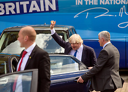 © Licensed to London News Pictures. 18/05/2017. Halifax, UK.  Foreign secretary BORIS JOHNSON (centre) leaves the launch event for the Conservative Party manifesto at The Arches in Halifax, West Yorkshire. The Conservatives are the last of the three main parties to launch their manifesto ahead of a snap general election called for June 8, 2017. Photo credit: Ben Cawthra/LNP