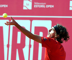 LISBON, May 4, 2018  Greece's Stefanos Tsitsipas serves the ball during second round match of Estoril Open Tennis tournament against South Africa's Kevin Anderson in Cascais, near Lisbon, Portugal, May 3, 2018. (Credit Image: © Zhang Liyun/Xinhua via ZUMA Wire)