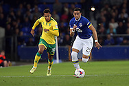 Ramiro Funes Mori of Everton looks to get away from Josh Murphy of Norwich City. EFL Cup, 3rd round match, Everton v Norwich city at Goodison Park in Liverpool, Merseyside on Tuesday 20th September 2016.<br /> pic by Chris Stading, Andrew Orchard sports photography.