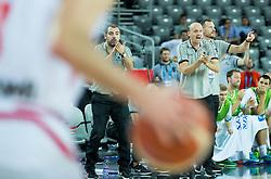 Stefanos Dedas, assistant coach of Slovenia, Jure Zdovc, head coach of Slovenia and Rado Trifunovic, assistant coach of Slovenia during basketball match between Slovenia and Georgia at Day 2 in Group C of FIBA Europe Eurobasket 2015, on September 6, 2015, in Arena Zagreb, Croatia. Photo by Vid Ponikvar / Sportida