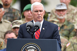 July 31, 2017 - Visiting U.S. Vice President Mike Pence speaks at the meeting with military personnel of NATO battlegroup in Estonia, in Tallinn, capital of Estonia. (Credit Image: © Sergei Stepanov/Xinhua via ZUMA Wire)
