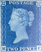 """Unused """"Two Penny Blue"""" postage stamps of Queen Victoria issued May 8, 1840 After a design by William Wyon"""