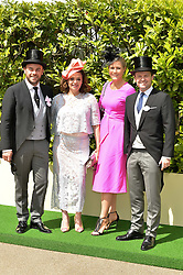 Left to right, ANTHONY McPRTLIN and wife LISA ARMSTRONG with DECLAN DONNELLY and his wife ALI ASTALL at day two of the Royal Ascot 2016 Racing Festival at Ascot Racecourse, Berkshire on 15th June 2016.