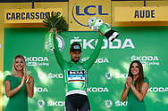 Podium, Hotess, Miss, Peter Sagan (SVK - Bora - Hansgrohe) green jersey during the 105th Tour de France 2018, Stage 15, Millau - Carcassonne (181,5 km) on July 22th, 2018 - Photo Luca Bettini / BettiniPhoto / ProSportsImages / DPPI