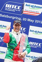 "20.05.2012, Salzburgring, Salzburg, AUT, FIA, WTTC Rennen 2, im Bild Podium: Sieger: #26, Stefano D Aste (ITA), Wiechers Sport, BMW E90 320 TC // during the FIA WTCC Series Austrian Race two, held at the ""Salzburgring"" near Salzburg, Austria on 2012/05/20. EXPA Pictures © 2012, PhotoCredit: EXPA/ Juergen .Feichter"