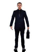 one caucasian business man standing in silhouette on white background