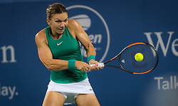 August 15, 2018 - Simona Halep of Romania in action during her second-round match at the 2018 Western & Southern Open WTA Premier 5 tennis tournament. Cincinnati, Ohio, USA. August 15th 2018. (Credit Image: © AFP7 via ZUMA Wire)