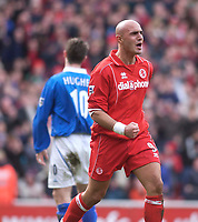 Photo. Glyn Thomas.<br /> Middlesbrough v Birmingham City.<br /> FA Barclaycard Premiership.<br /> Riverside Stadium, Middlesbrough. 20/03/2004.<br /> Boro's frequently profligate Massimo Maccarone (R) celebrates after coming good with his side's second goal.